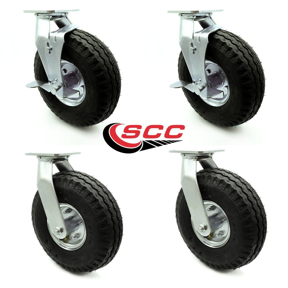 10'' Pneumatic Caster Set of 4-2 Swivel with Brakes/2 Swivel - Black Rubber Wheel - 1,400 lbs. Capacity - Service Caster Brand