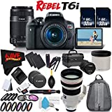 6Ave Canon EOS Rebel T6i DSLR Camera w/18-55mm Lens International Version (No Warranty) + Canon 55-250mm IS STM Lens + Canon EF 200mm f/2L IS USM Lens 2297B002 + Deluxe Cleaning Kit Bundle