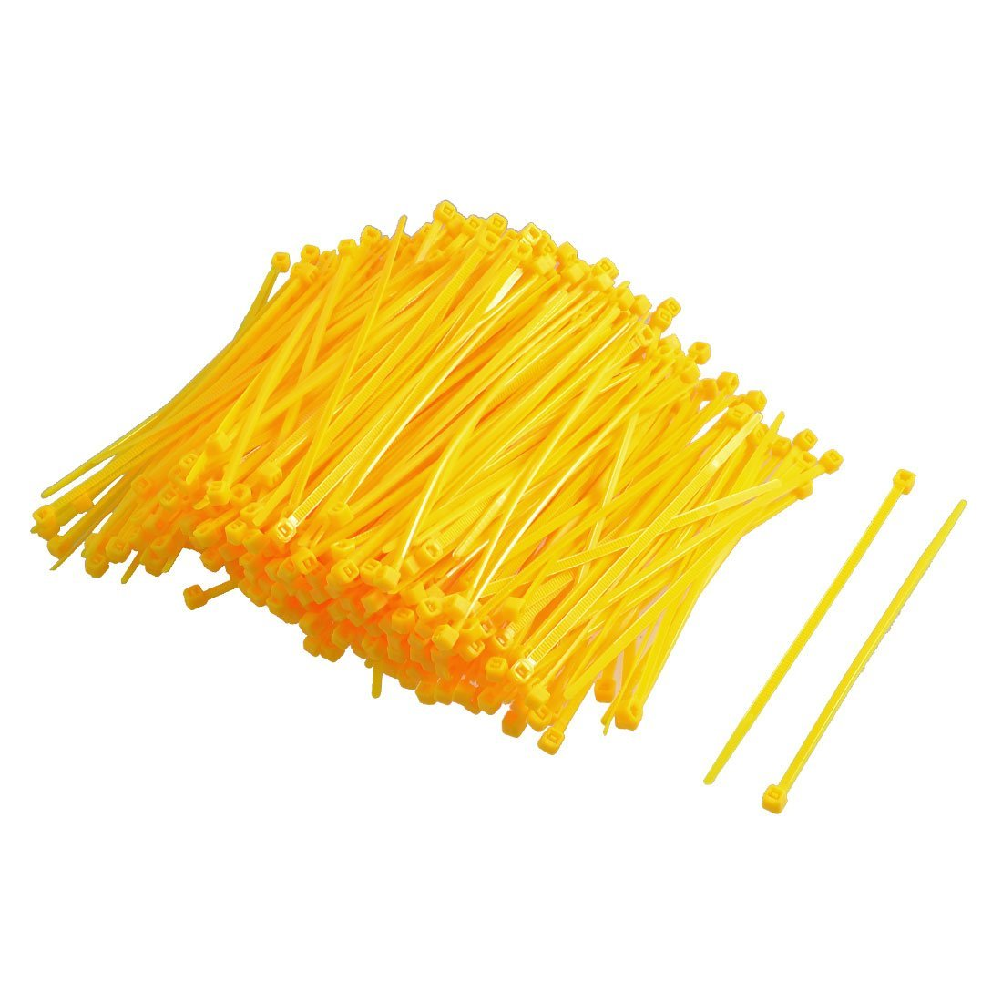 Uxcell Nylon Adjustable Self locking Cable Ties 2.5 x 100 mm Yellow 300 Piece