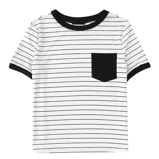 Damen T-Shirts Sommer Basic V-Ausschnitt Farbblock Casual Kurzarm Oberteil  Bluse Oberteile Top 7f7ef6a38c