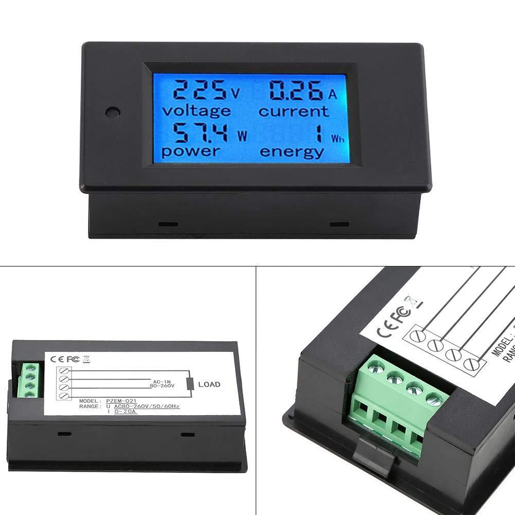 medidor de potencia con pantalla grande LCD,funci/ón de alarma de sobrecarga.20A // 4500W,80-260VAC,solo adecuado para interiores amper/ímetro Voltage power meter,Volt/ímetro