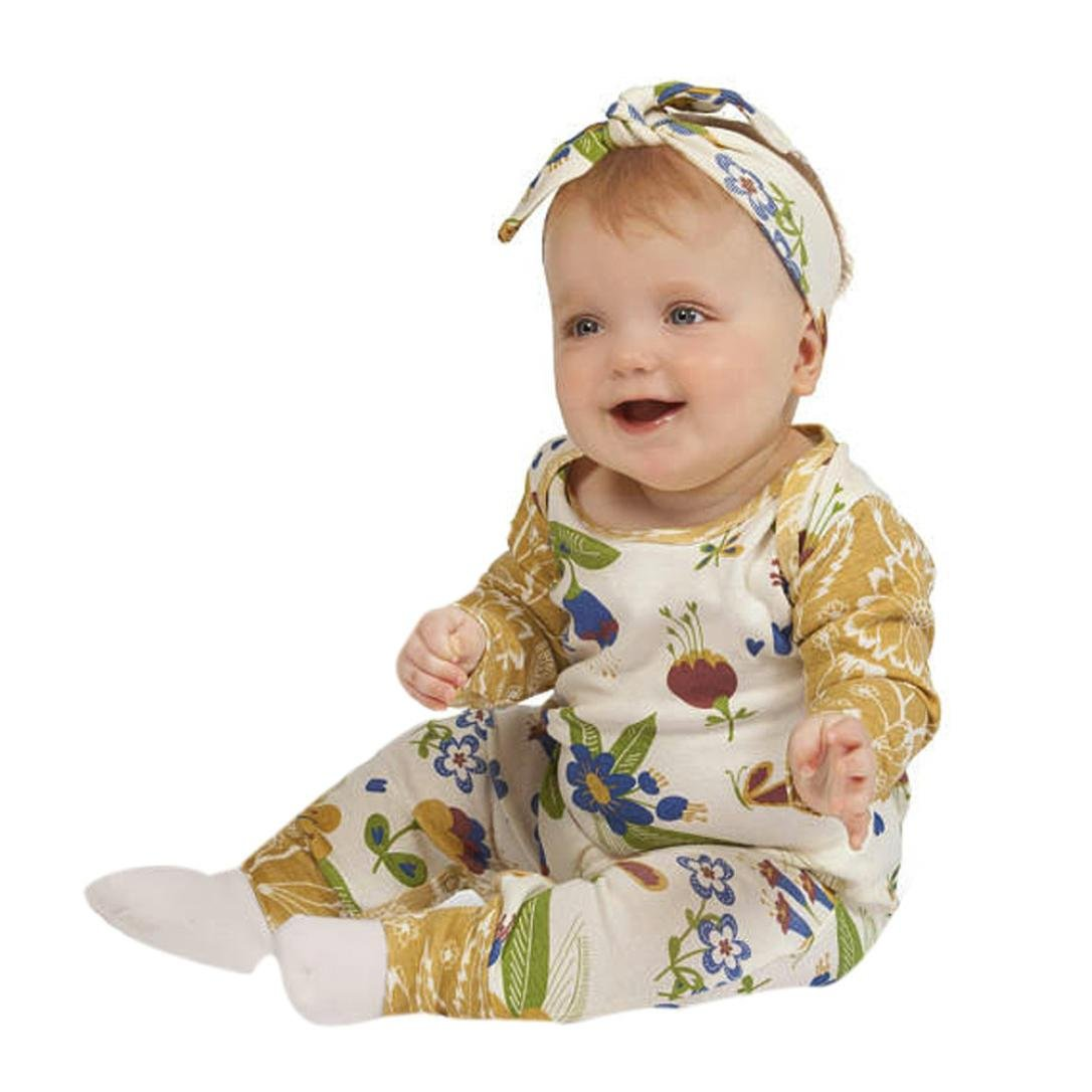 Voberry Newborn Infant Baby Toddler Floral Girls Outfits Clothes Romper Jumpsuit+Headband Set Autumn Winter Outfits for 0-24 Months
