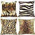 "WOMHOPE® 2 Pack - 18"" x 18"" Faux Fur Cushion Decorative Pillow Covers Animal Theme Print Style Square Throw Pillowcase Cushion Covers for Sofa,Bed,Chair,Auto Seat"