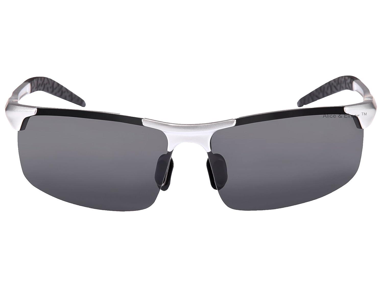 Alice & Elmer Gafas de sol deportivas polarizadas para hombre con ultraligero plata marco negro lente vLfbp0eF