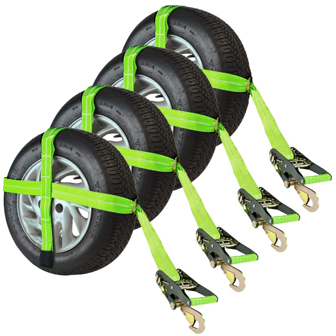 Vulcan Adjustable Loop Car Tie Down Kit With Snap Hooks Downs Automotive Wiring Harness Complete Includes 4 Straps And Ratchets Hi Viz Green Home Improvement