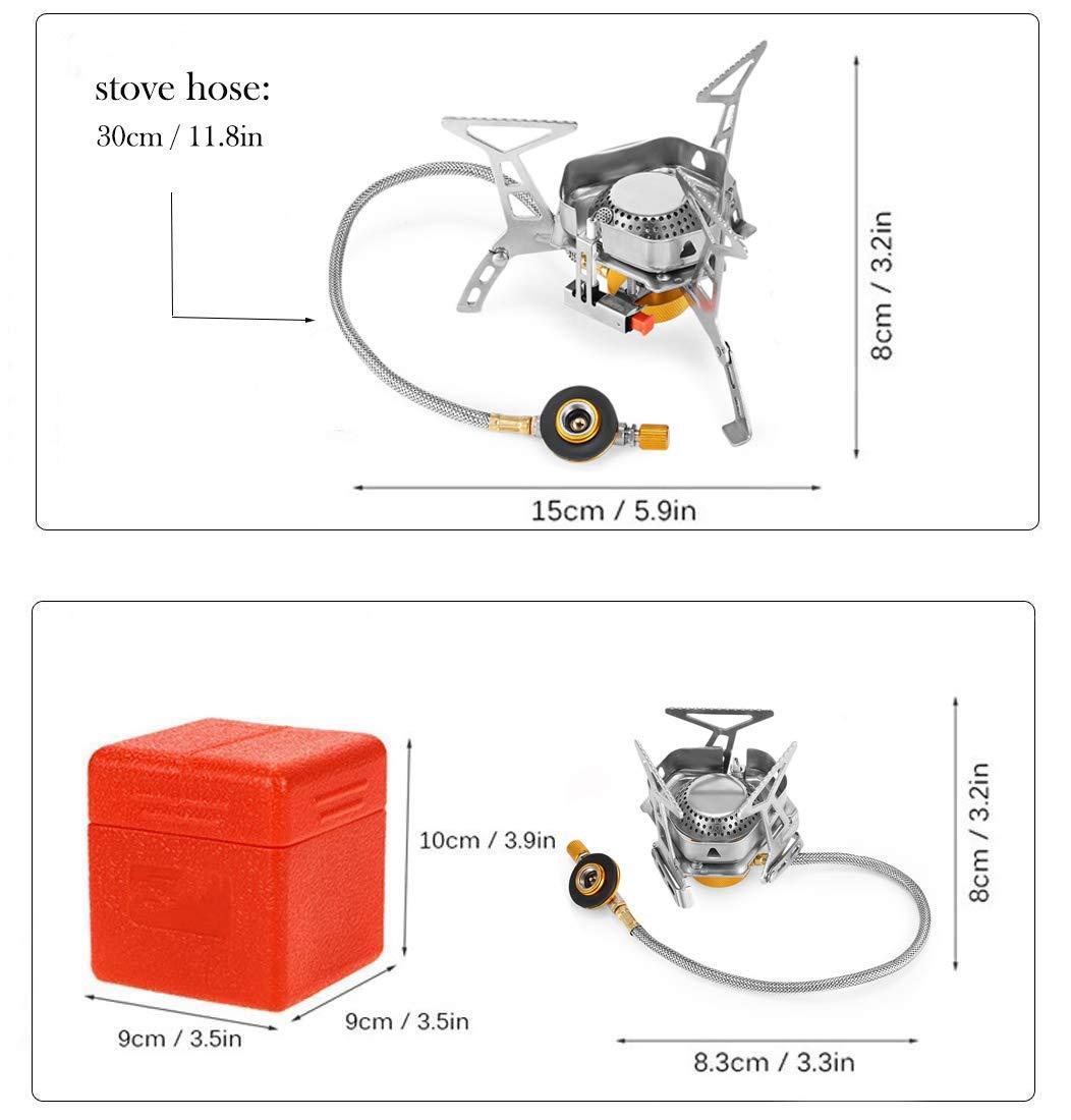 Kuckuck Gaskocher Camping Gas Campingkocher mit Windschutz Design f/ür Coleman Primus Weber Faltbarer Mini Camping Kocher 3500w