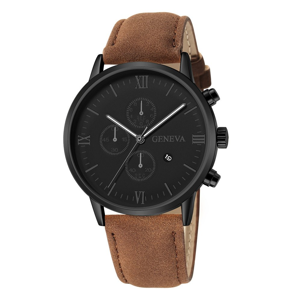 Men's Wrist Watches,Fashion Geneva Men Date Alloy Case Synthetic Leather Analog Quartz Sport Watch(Brown) by Woaills Watch