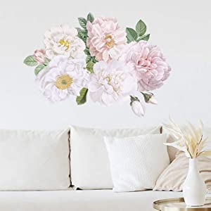 Peony Flowers Wall Decor for Living Room, iinuu Watercolor Floral Flower Wall Decals Bedroom Nursery Office Removable Vinyl Wall Decorations