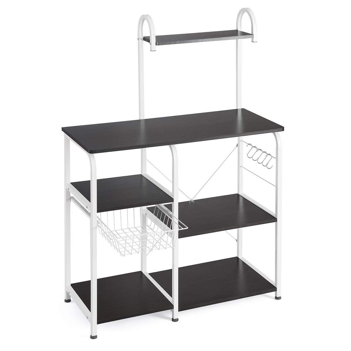 Shmei US Fast Shippment Multifunctional Kitchen Utility Storage Shelf 35.5'' Microwave Stand 4-Tier+3-Tier Shelf for Spice Rack Organizer Workstation for Home (Black)