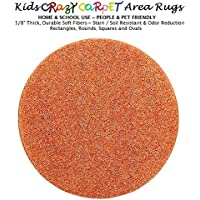 Round 6 - Cheerful Orange ~ Kids Crazy Carpet Home & School Area Rugs | People & Pet Friendly – R2X Stain Resistance & Odor Reduction