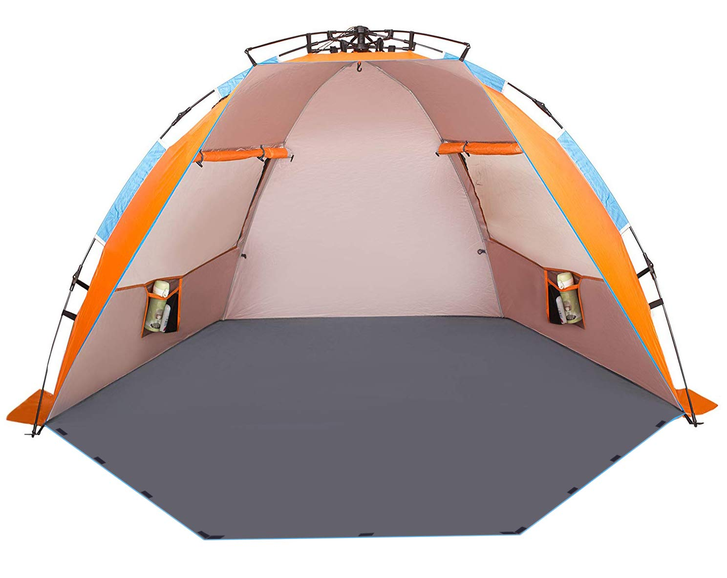 Oileus X-Large 4 Person Beach Tent Sun Shelter - Portable Sun Shade Instant Tent for Beach with Carrying Bag, Stakes, 6 Sand Pockets, Anti UV for Fishing Hiking Camping, Waterproof Windproof
