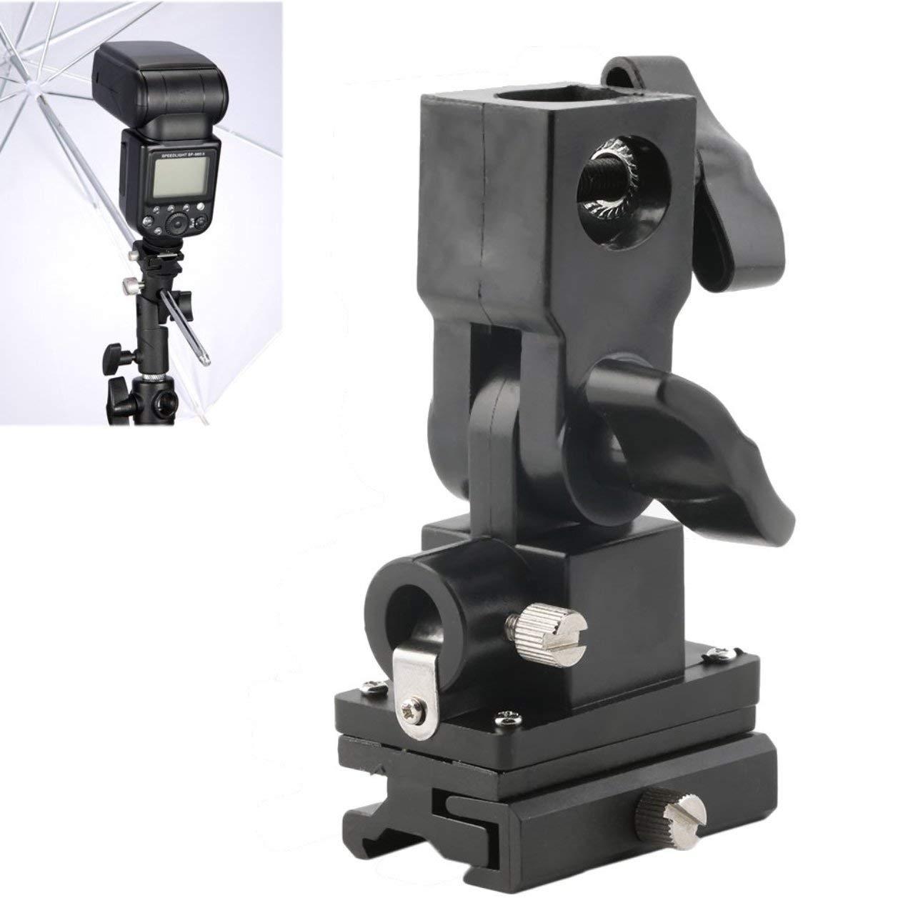 WOSOSYEYO B Type Holder Flashlight Umbrella Holder Swivel Light Stand Bracket For Camera(Color:black)