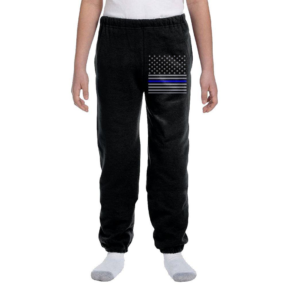 USA Thin Blue Line Flag American Flag Fashion Durable Unisex Sweatpants For hobbledehoy