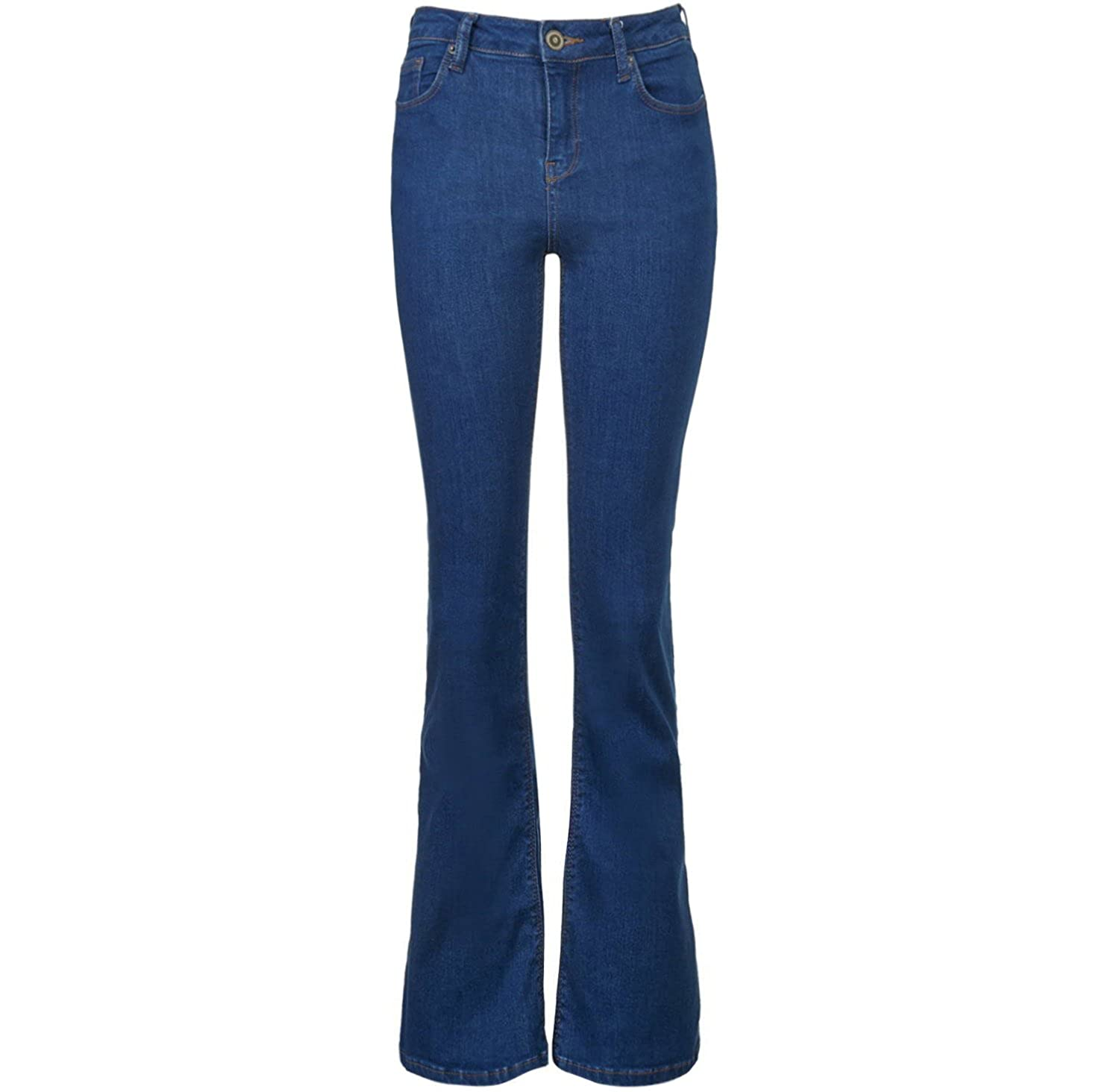 Bess New Ladies Flared Boot Cut Wide Leg Hipster Jeans Blue Black Stretch Denim UK 6-16 M-2202