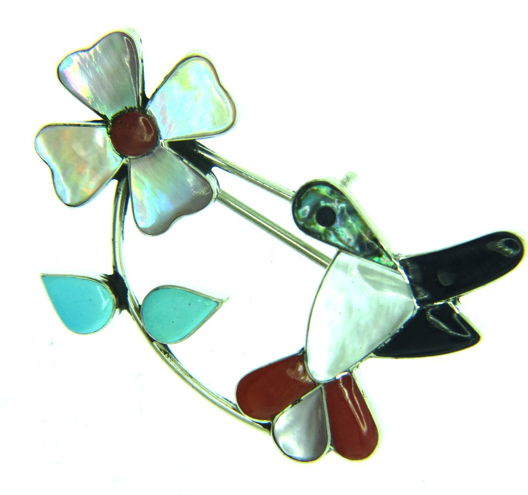 USA made by Zuni Artist L.A. Beautiful! Zuni, Sterling-silver inlay Hummingbird Brooch/ Pendant Pin
