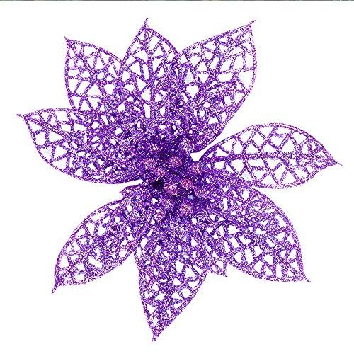 Artificial Flowers 6 Inch Poinsettia Wedding Christmas Festival Decor (Purple Poinsettia)
