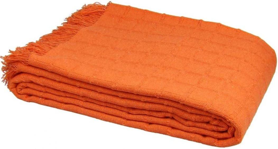 Texturas Basics - Colcha Multiusos Lisa Cama Y SOFÁ Económica (125_x_180_cm, Naranja)