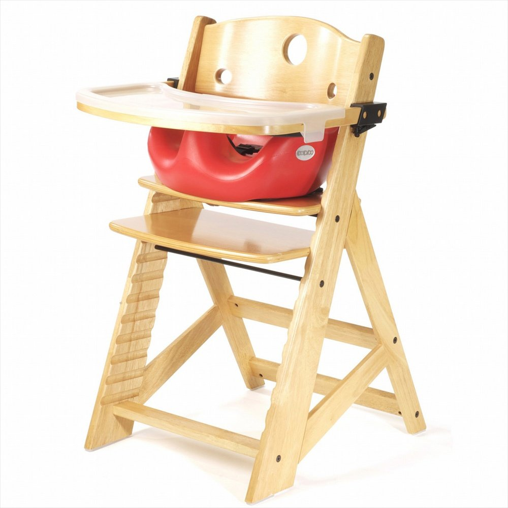 Keekaroo Height Right High Chair, Infant Insert and Tray Combo, Natural/Cherry