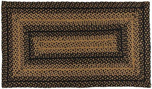IHF Home Decor Braided Area Rug Ebony 22″ x 72″ Rectangle Carpet Jute Fabric