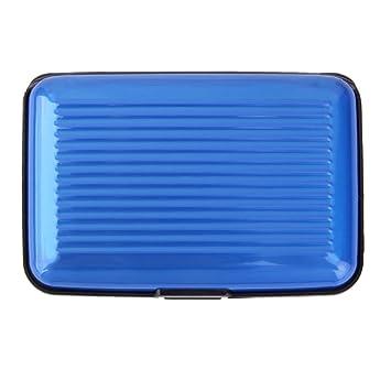 Caja Estuche de Tarjeta de Crédito Identificación Metálica de Aluminio Rayas Resistente al Agua (azul)