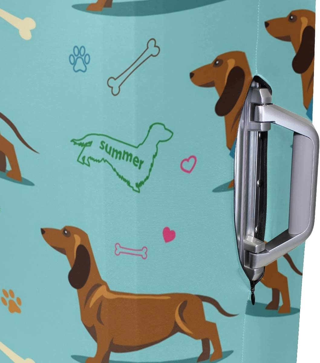 FOLPPLY Dachshund Bones Pattern Luggage Cover Baggage Suitcase Travel Protector Fit for 18-32 Inch