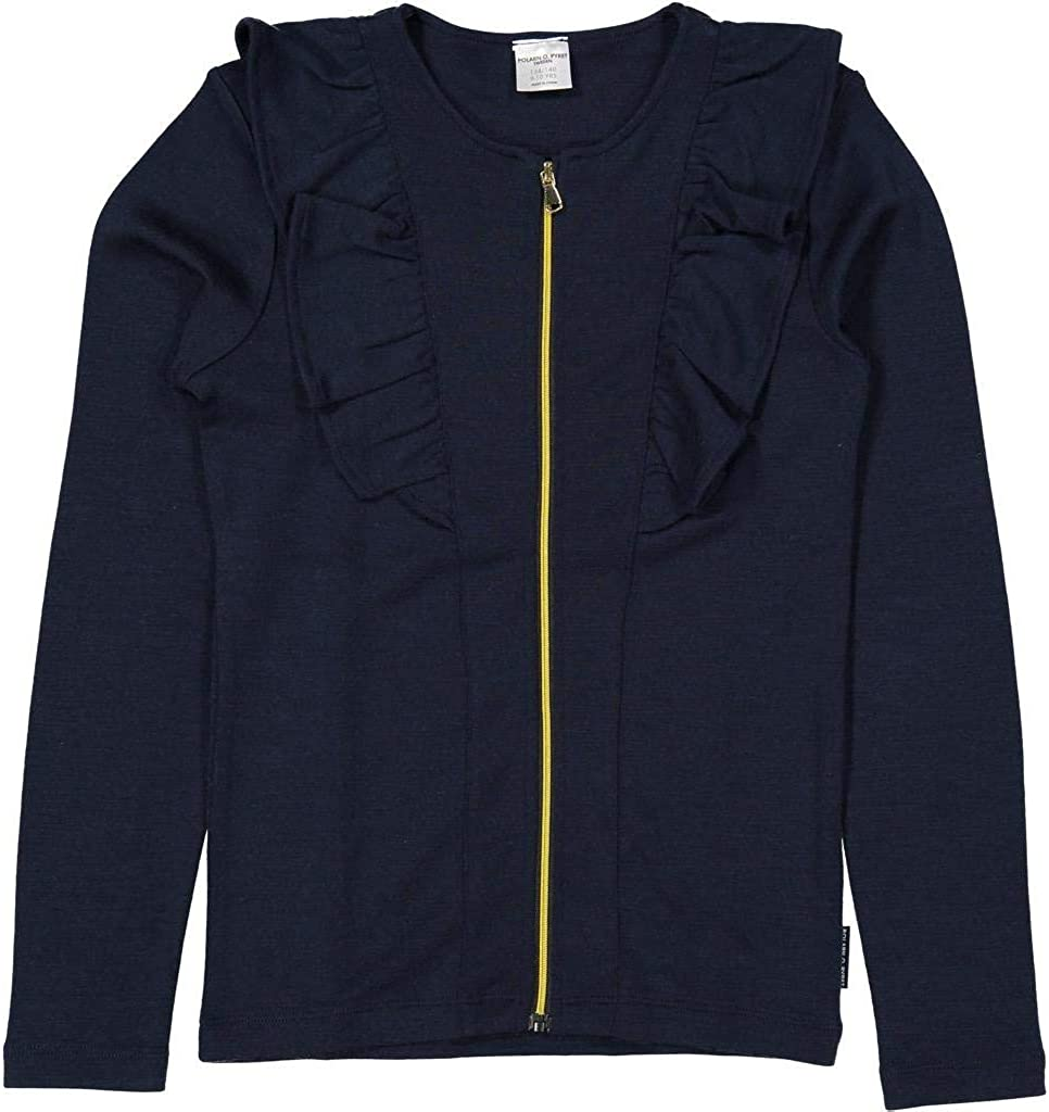 Polarn O Pyret Wool Terry Frilled Zip Cardigan Sweater 6-12YRS