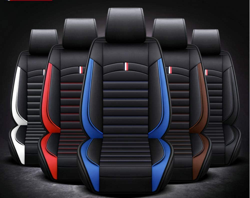 Front 2pcs Blue ANKIV 2pcs Universal Fit Waterproof Pu Leather Car Seat Cushion Cover for Sedan or SUV Truck Van