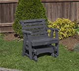 Amish Heavy Duty 600 Lb Roll Back Pressure Treated Porch Patio Garden Lawn Outdoor GLIDER CHAIR-2 Feet-BLACK-Made in USA