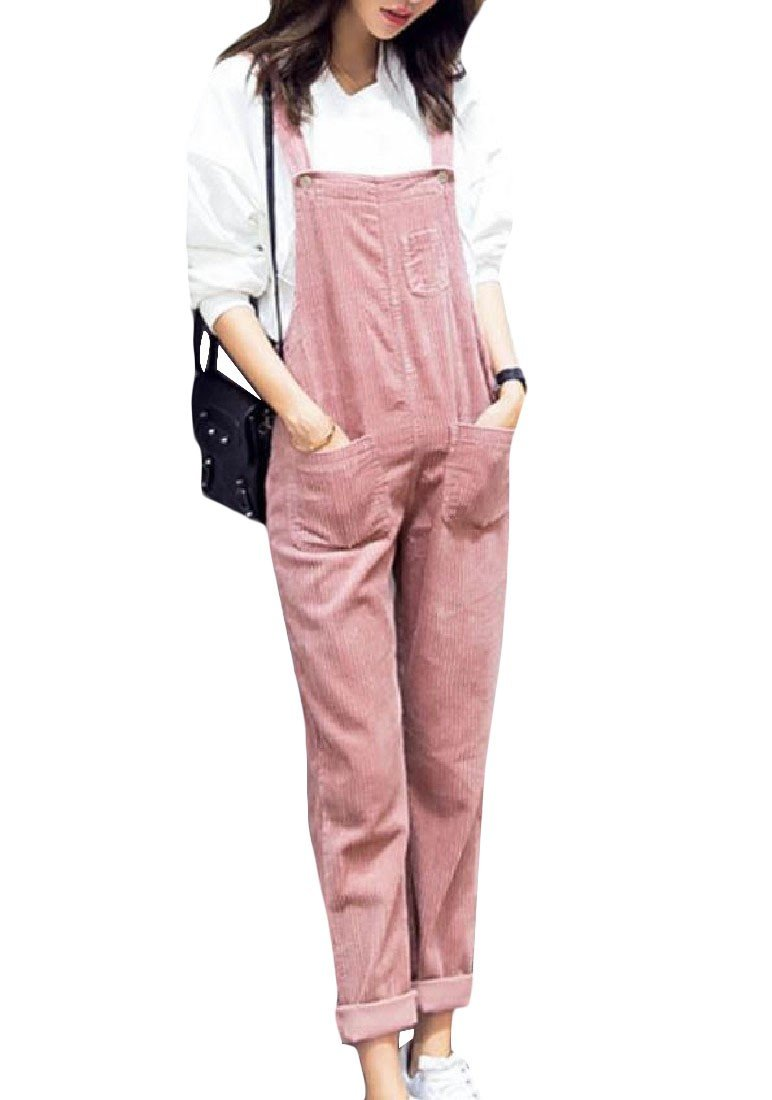 DoufineWomen Doufine Womens Overalls Fashion Long Pants corduroy Loose Casual Rompers Pink M