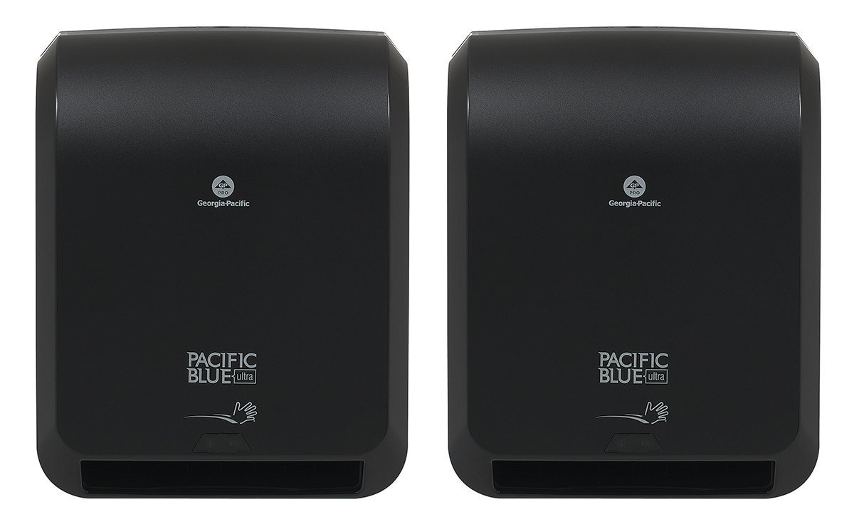 """Pacific Blue Ultra Automated Paper Towel Dispenser by Georgia-Pacific, Black, 59590, 12.9"""" W x 8.7"""" D by 15.5"""" H, 2 Pack"""