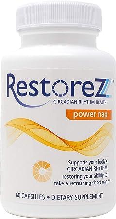 RestoreZ Power Nap (60 Capsules) Natural Nootropic Supplement - Improve Energy, Increase Mental Focus & Reduce Stress