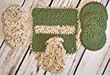 Unisex Green and Tan Speckled Invigorating yet Gentle Face and Body Poufs. Hand crocheted spa or bath set.Great teacher appreciation gift.