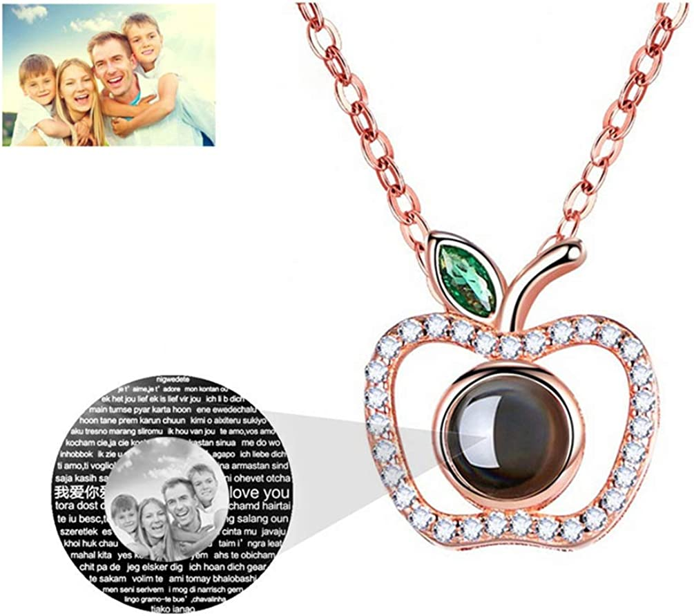 Gusha 100 Languages I Love You Memory Necklace Projection Christmas Eve Gift Rose Gold Black and White 14