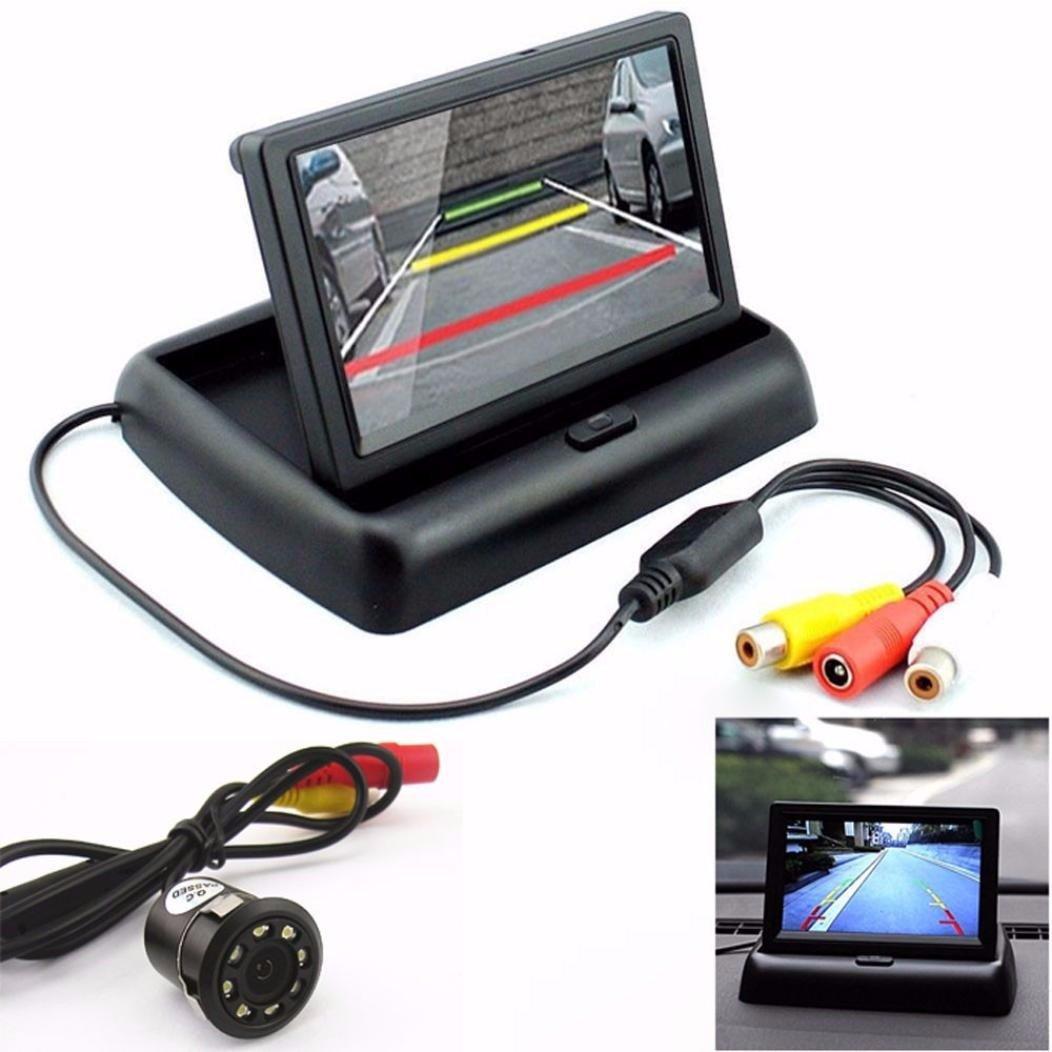 Dacawin Car Rear View 170° 8LED Night Vision Backup Camera & 4.3'' Foldable LCD Display Monitor (Black)