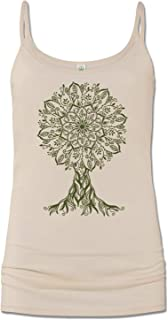 product image for Soul Flower Women's Organic Cotton Mandala Tree Cami Tank Top, Tan Long Graphic Yoga Camisole, Sleeveless Ladies Shirt
