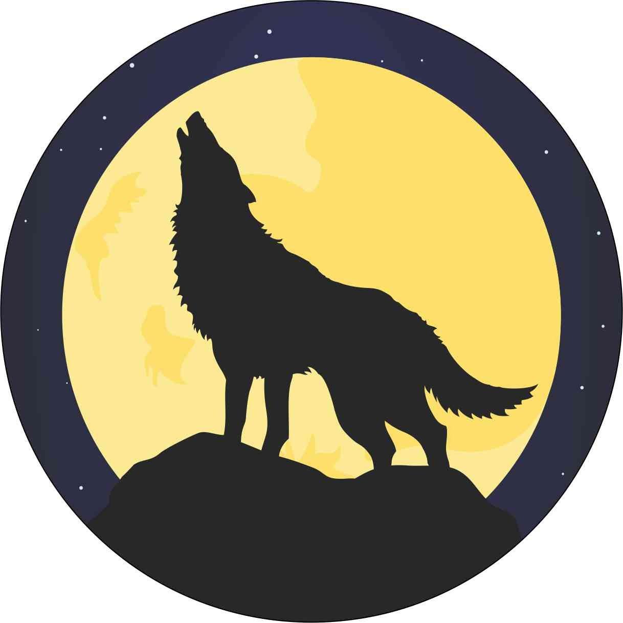Amazon com stickertalk 4x4 circle howling wolf sticker vinyl animal bumper decal wolves stickers automotive