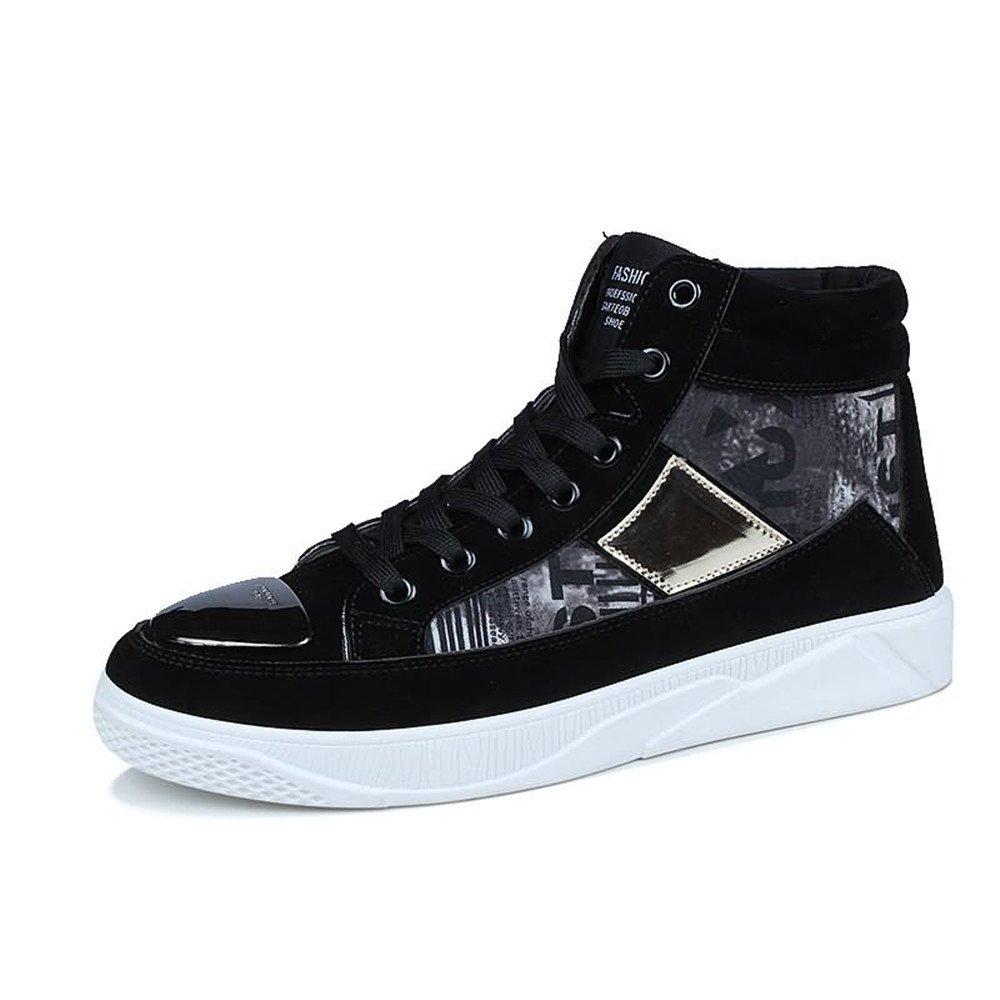 Zapato de Deporte de la Manera de los Hombres talón Plano con Cordones patrón Popular Zapatos de Ocio Vamp 42 EU|Negro