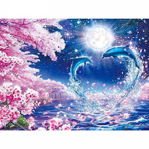 LICSE 5D Diamond Embroidery Paintings Rhinestone Pasted DIY Cross Stitch, Paint by Number Kits Animal Play with Dolphins 12X16 inches