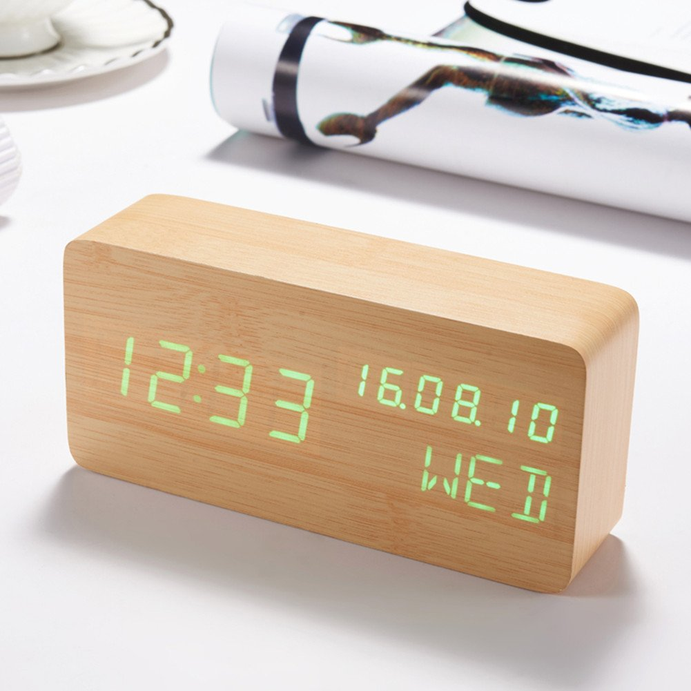 GFUNY Alarm Clock, Wooden LED Time Date Week And Temperature Displays,Voice Control Desk Alarm Clock for Home, Office,Travel (wood+green)