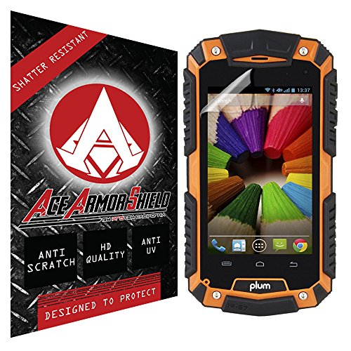 Ace Armor Shield Shatter Resistant Screen Protector for the Plum Gator / Military Grade / High Definition / Maximum Screen Coverage / Supreme Touch Sensitivity /Dry or Wet Easy Installation with free lifetime replacement warranty