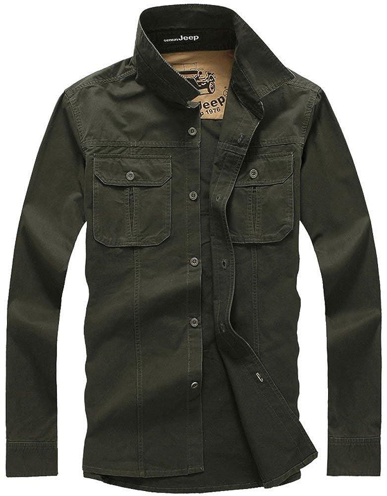 QZUnique Mens Casual Outdoor Long Sleeve Button Down Chest Pockets Cotton Shirt SJ-8820