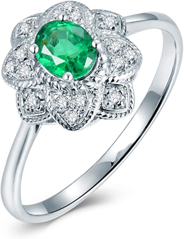 AnazoZ Anillo de Mujer con Esmeralda,Anillos de Oro Blanco Mujer 18 K Plata Verde Oval Esmeralda Verde 0.3ct Diamante 0.08ct