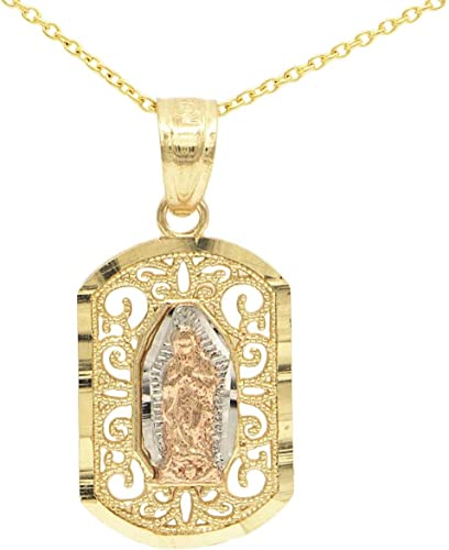 Ice on Fire Jewelry 10k Two Tone Rose Gold Our Lady of Guadalupe Pendant Necklace