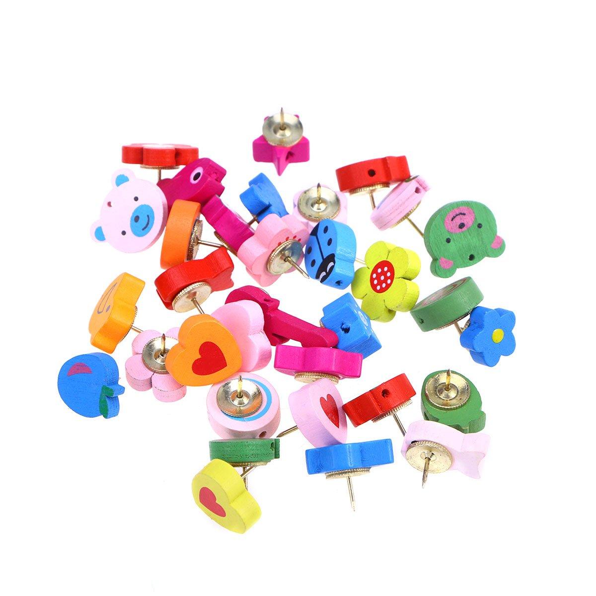 stobok 30/PCS Puntine Decorative Cartoon animale Puntine in legno per lavagna Parete lavagna colore assortimento