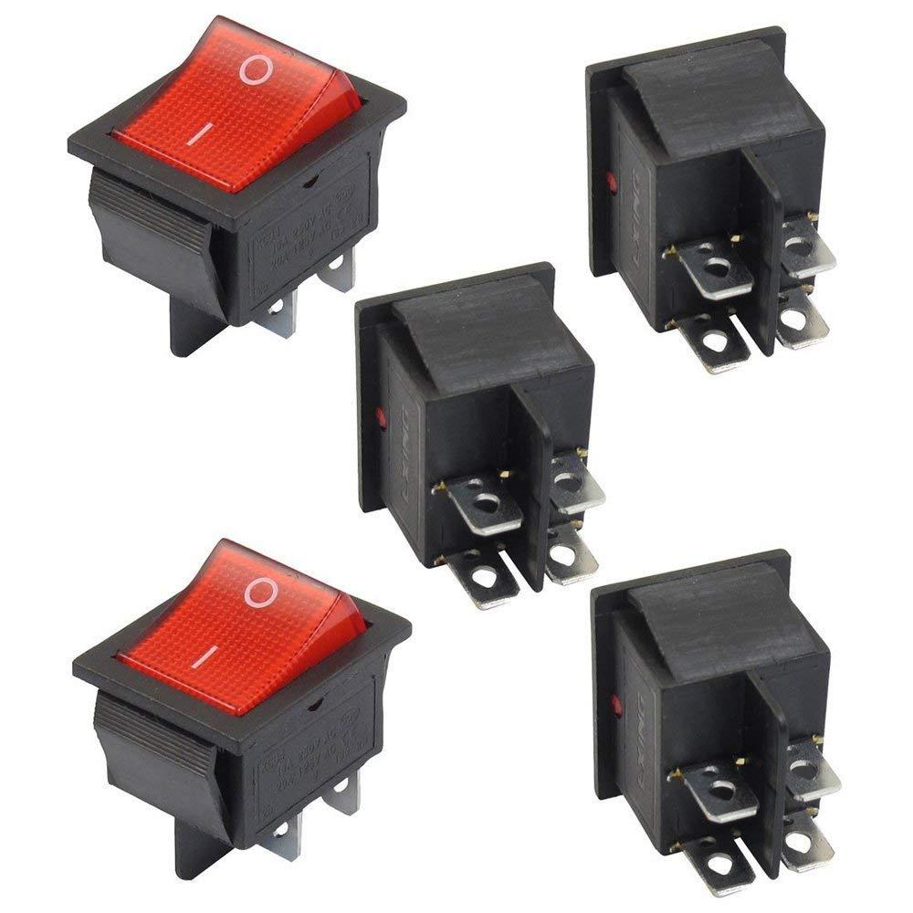 TrifyCore 5interrupteurs à Bascule lumière éclairé Rouge on/Off dpst 16A/250V 20A/125V CA