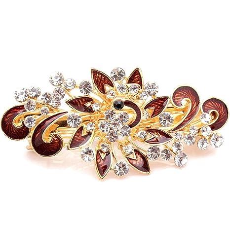 Royaume-Uni disponibilité boutique de sortie style attrayant Fermaglio Flower accessori capelli clip strass acconciatura ...