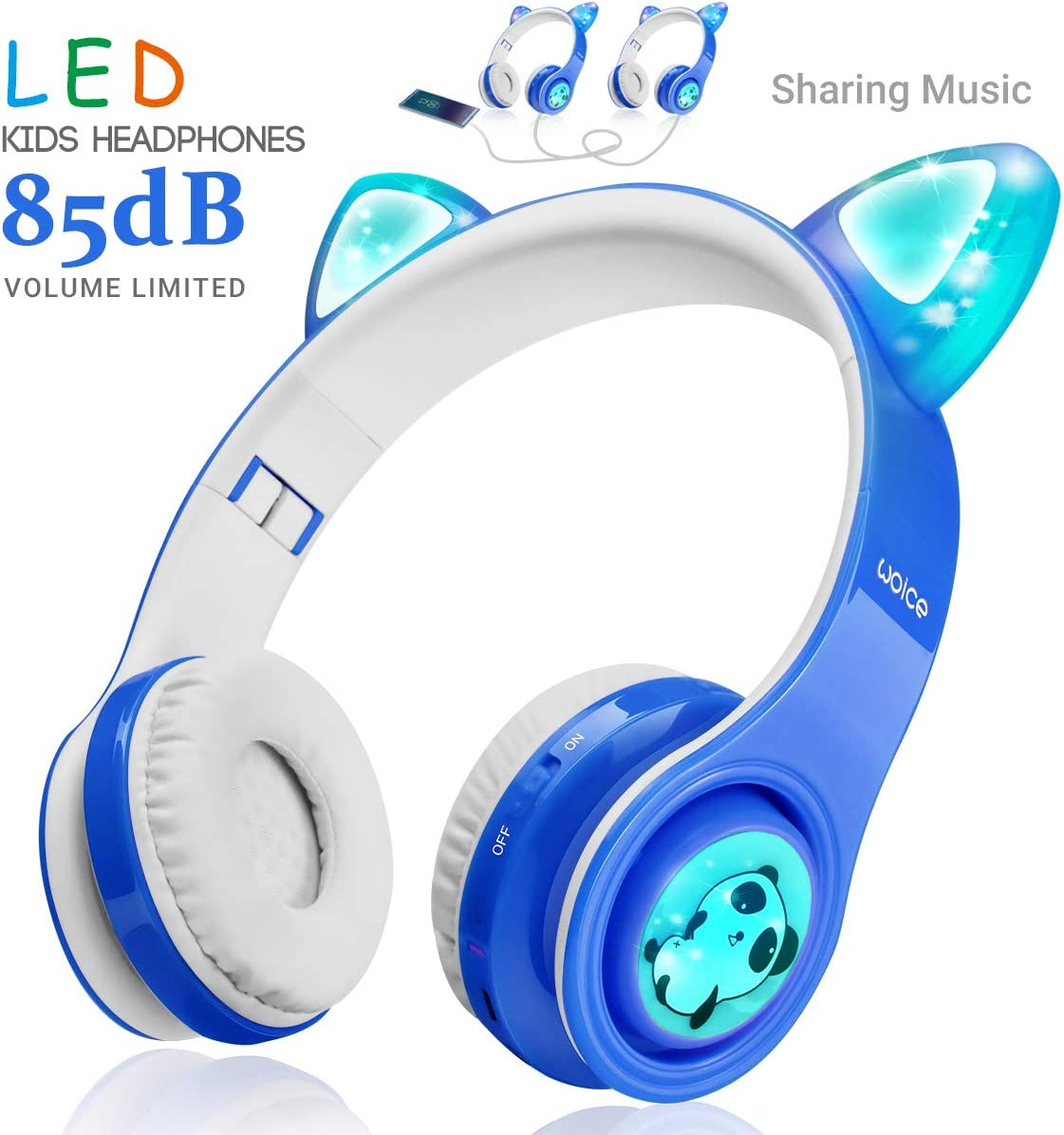 WOICE Wireless Bluetooth Kids Headphones, LED Flashing Lights, Music Sharing Function, 85db Volume Limited, Over-Ear and Build-in Mic Wireless/Wired Children Headphones for Boys Girls (Blue)