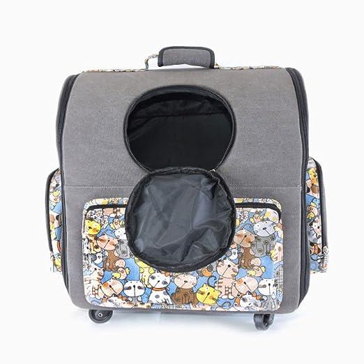 Estuche Grande para Trolley para Mascotas Bolsas para Perros Estuche Plegable para Trineo con Ruedas Cat Caja Exterior Afloramiento Mochila,Grey-46 * 30 ...