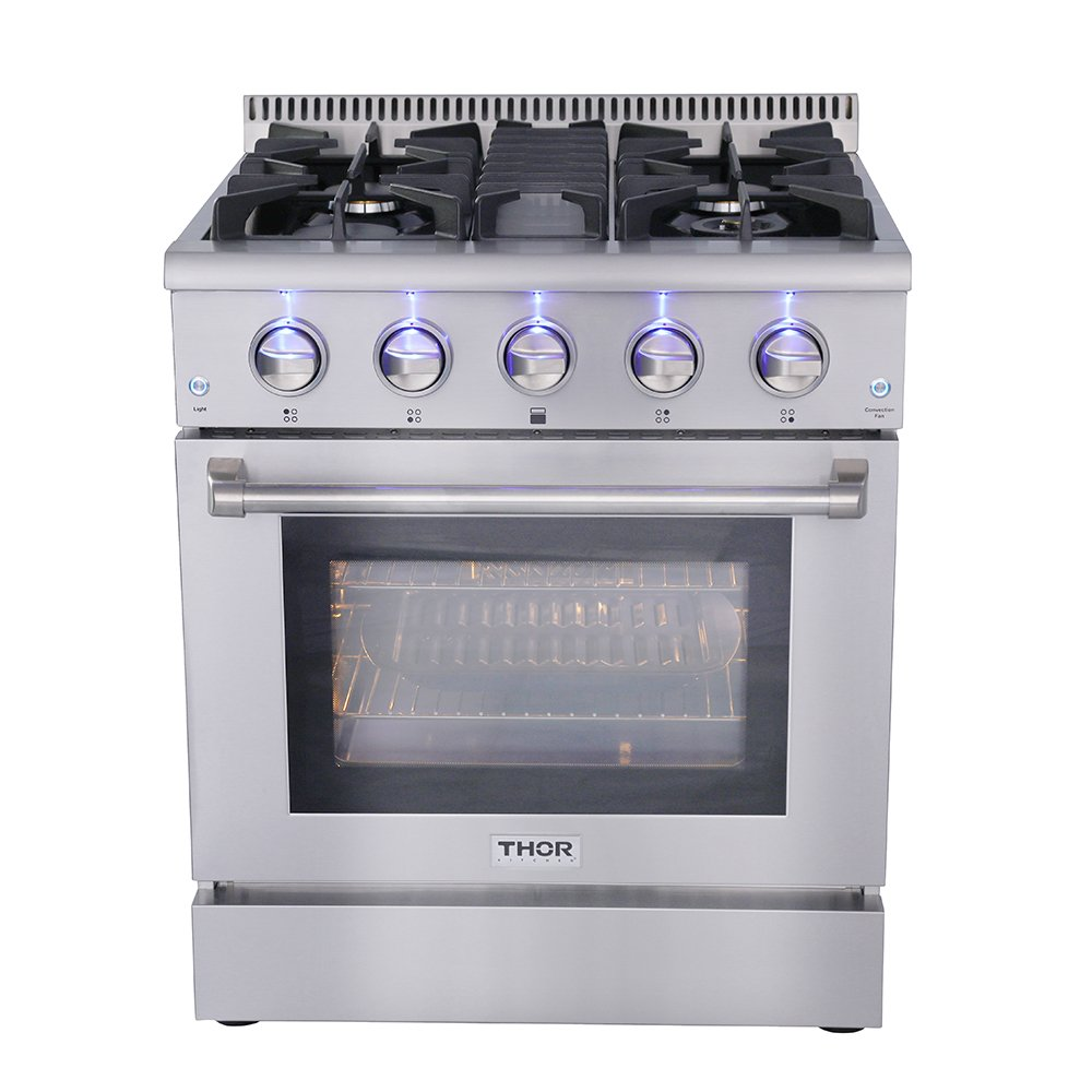 "30"" Thor Kitchen Free Standing&Slide- in Gas Range 4 Burners 4.2cu.ft Oven Propane/NG With HRG3080U (HRG3080U-LP)"