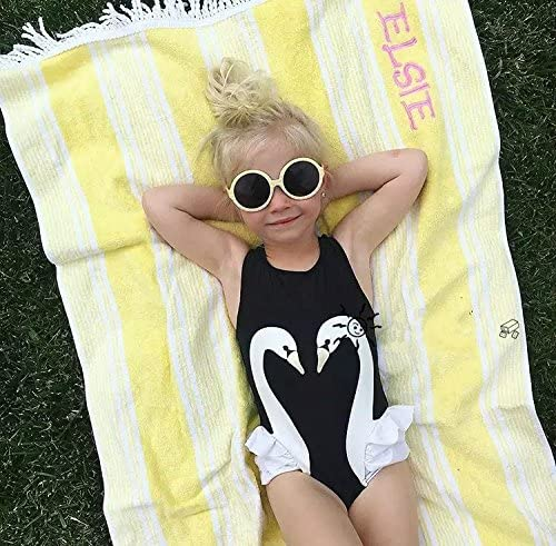 Jiamingyang One Piece Girls Swimwear with Cap Fashion Swan Pattern Sports Bodysuit Beachwear